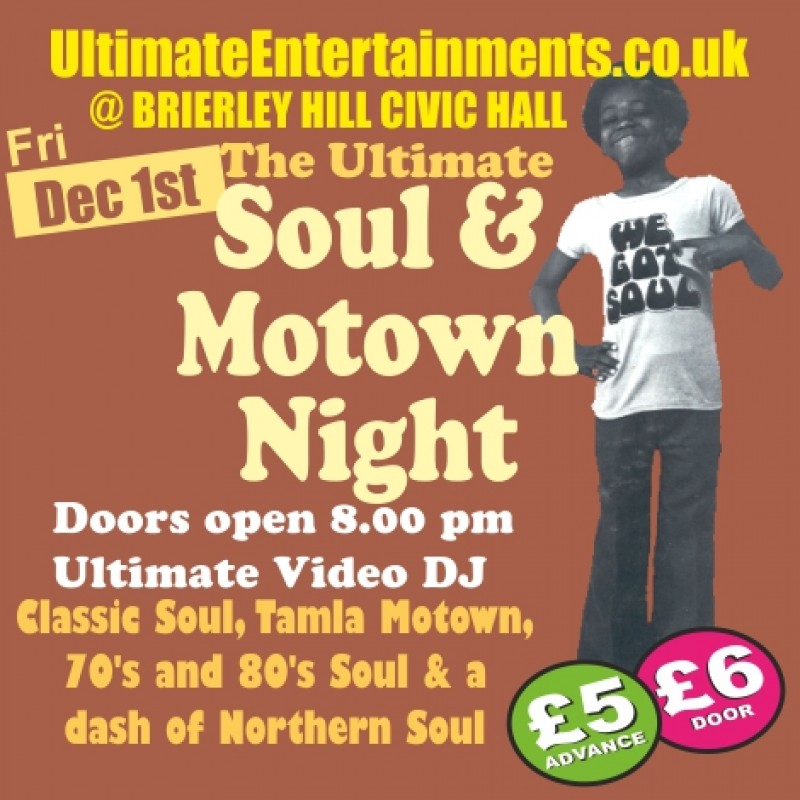 Ultimate Soul & Motown Night, 1st December 2017