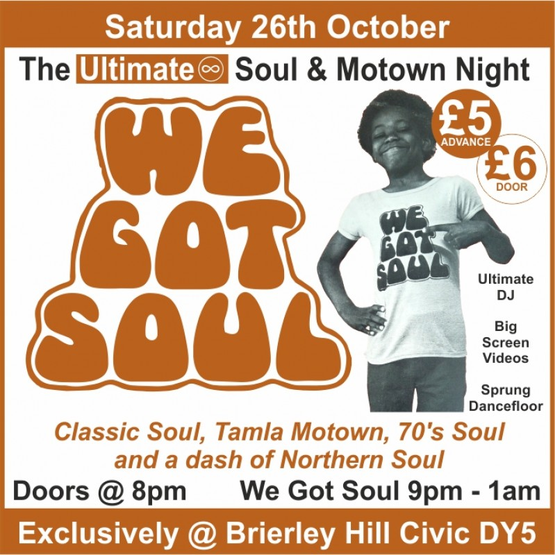 Ultimate Soul & Motown Night, 26th October 2019