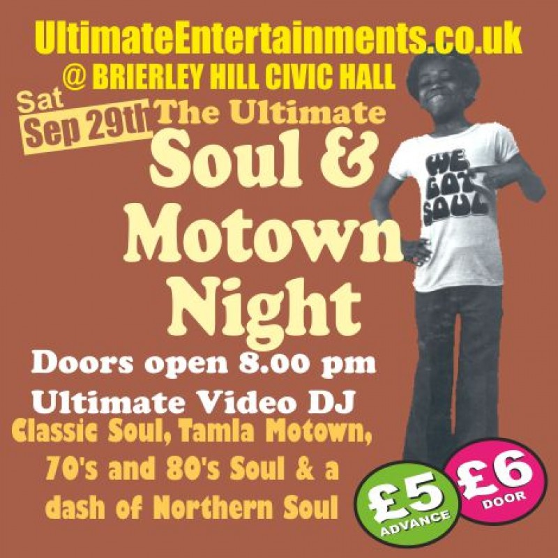 Ultimate Soul & Motown Night, Saturday 29th September 2018