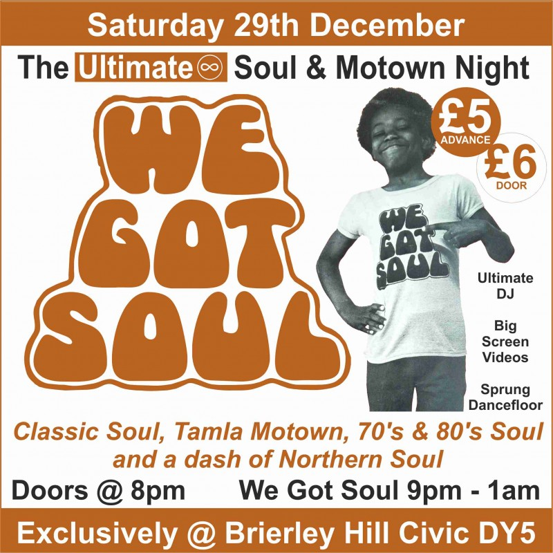 Ultimate Soul & Motown Night, Saturday 29th December 2018