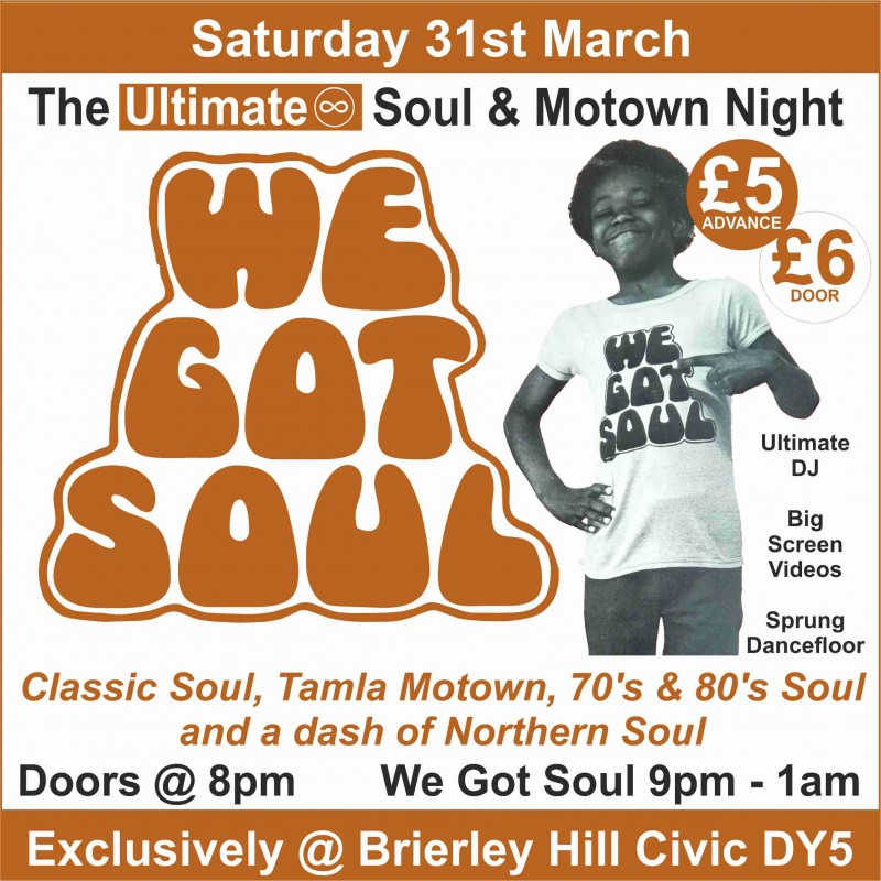 Ultimate Soul & Motown Night, Saturday 31st March 2018