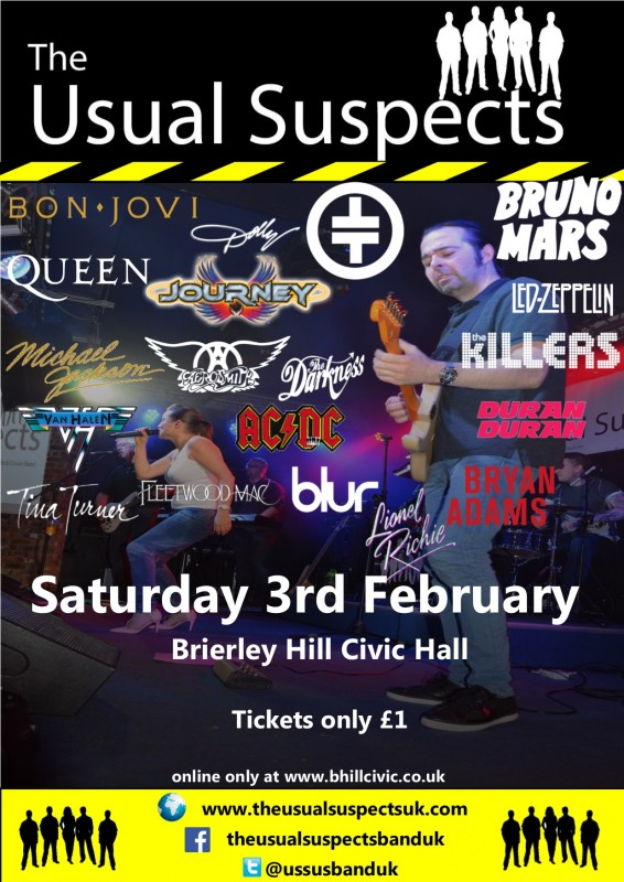The Usual Suspects Band, Party Night With DJ Support until late, February 3rd 2018