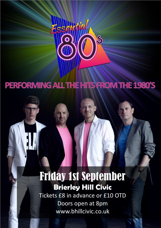 Essential 80's Live Band with supporting DJ until Late, September 1st 2017