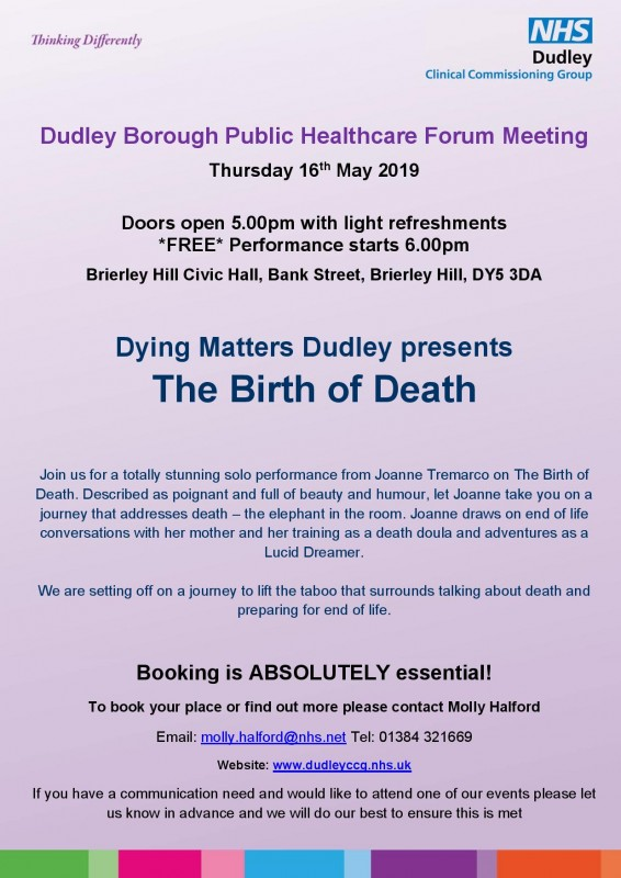 Dying Matters Dudley Presents: The Birth Of Death, 16th May 2019