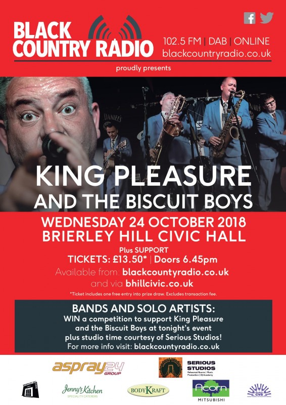Black Country Radio presents King Pleasure and the Biscuit Boys plus special guests, 24th October 2018