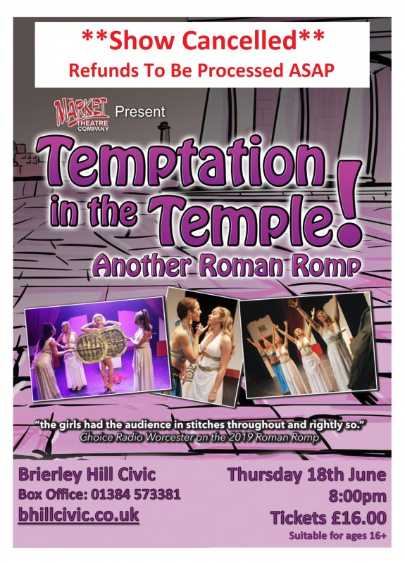**CANCELLED** Temptation In The Temple, 18th June 2020