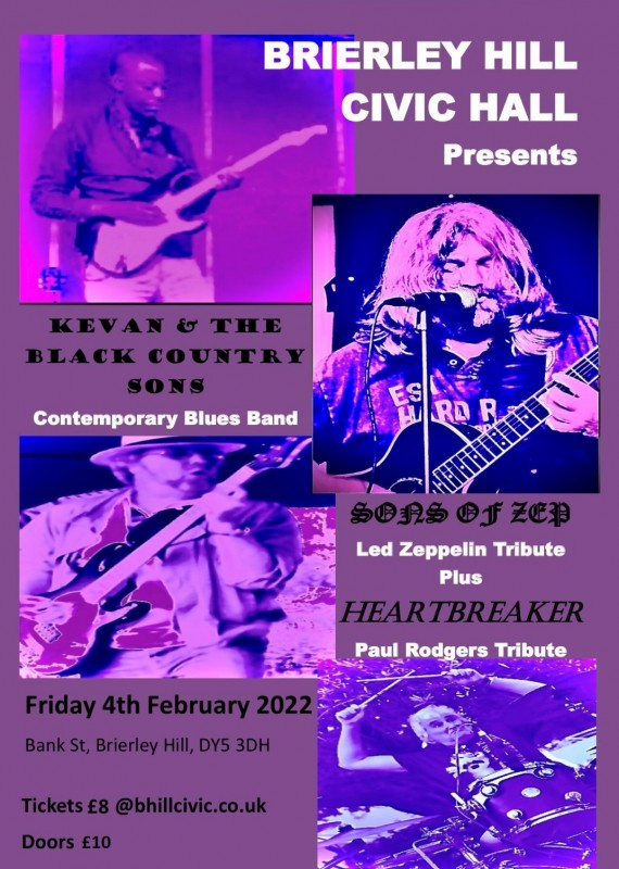 Kevan And The Black Country Sons with Special Guests -  Sons of Zep & Heartbreaker 4th February 2022