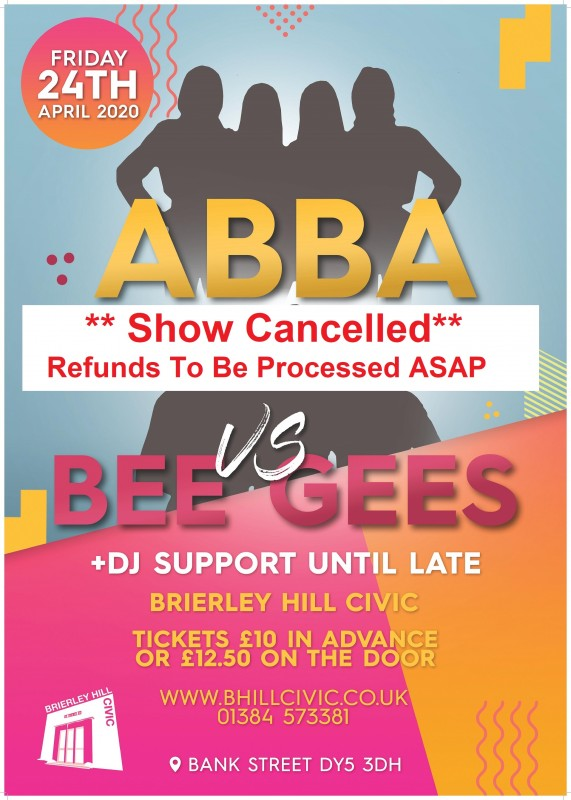 ABBA Vs BeeGees + DJ Support Until late, 24th April 2020